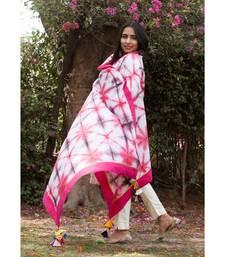 Rani Pink Hand dyed Shibori Chander Dupatta