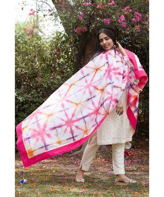Sunheri Hand dyed Shibori Chander Dupatta