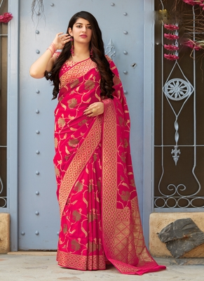 Magenta woven banarasi saree with blouse