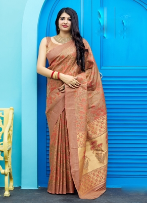 Rust woven tanchhoi saree with blouse