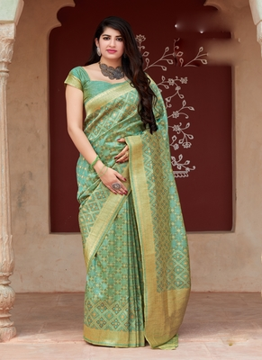 light turquoise woven tussar saree with blouse