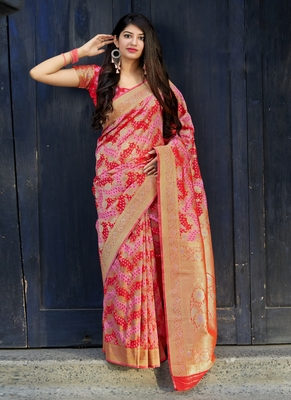 scarlet red woven banarasi saree with blouse