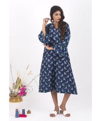 Blue Cotton Panchi Indigo Dabu Dress