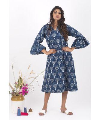 Blue Cotton Phool Indigo Dabu Dress
