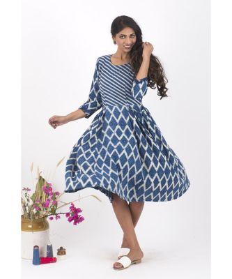 Blue Cotton Crackle Indigo Dabu Dress
