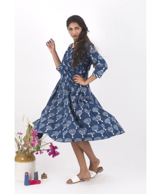 Blue Cotton Cochin Indigo Dabu Dress