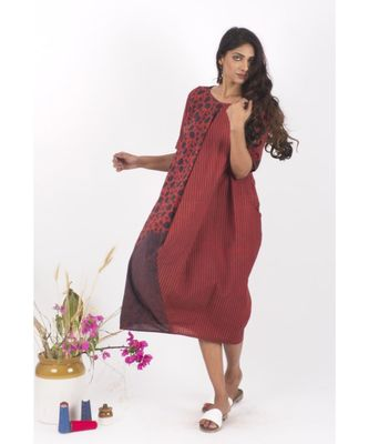 Red Cotton TheRedIndian Hand Block Print Dress