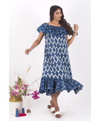 Blue Cotton BikeRides Indigo Dress