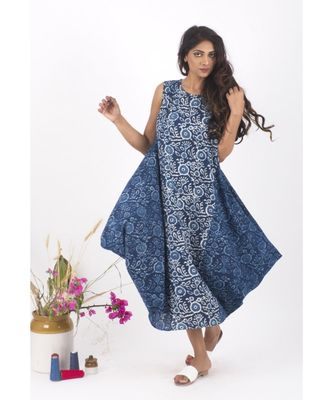 Blue Cotton Kuan Indigo Floral Jhola Dress