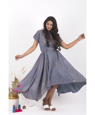 Blue Cotton Doremi Indigo Striped Dress