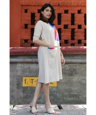 Beige Cotton HelloRose Dress