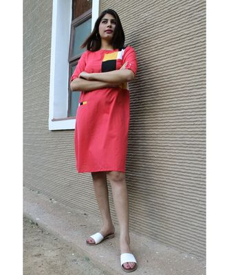 red Cotton Chessy Dress