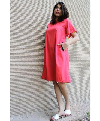 red Cotton Yanna Dress