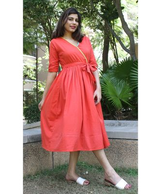 Red Cotton Prinka Dress