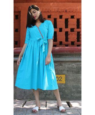 Blue Cotton Farha Blue Dress