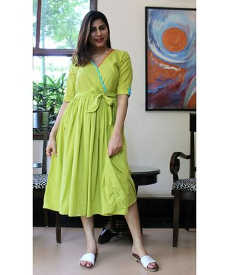 Green Cotton Denise Dress