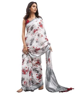 Off-white printed linen saree with blouse