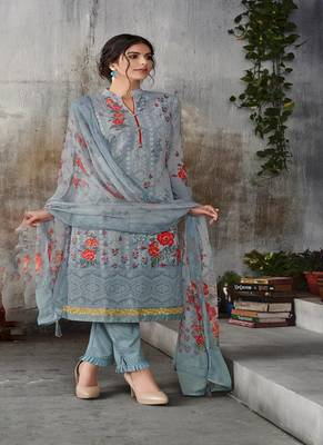Grey digital print georgette salwar