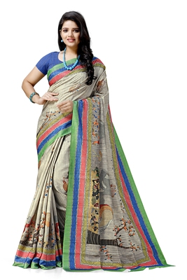 Cream printed silk saree with blouse