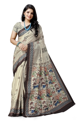 Beige printed silk saree with blouse