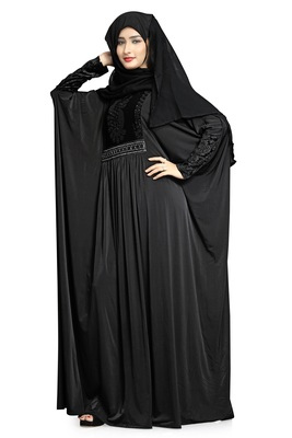 Justkartit Women's Dubai Style Velvet Stretchable Soft Material Outdoor Wear Abaya Burqa