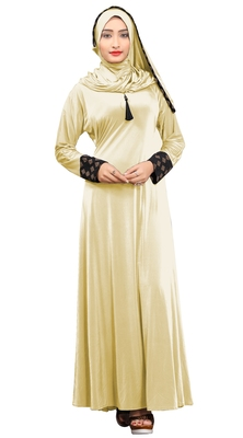 Justkartit Women's Cream Color Plain Velvet Embosed Lycra Abaya Burkha With Waist Belt