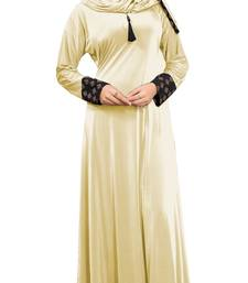 Justkartit Women's Cream Color Plain Velvet Embosed Lycra Abaya Burkha With Waist Belt