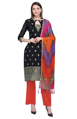 Blissta Women's Black & Orange Banarasi Jacquard Dress Material Having Modal Silk Dupatta With Tassels