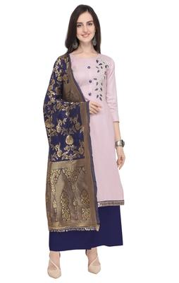 Blissta Women's Lavender & Navy Blue Cotton Gota Patti Work Dress Material With Banarasi Dupatta