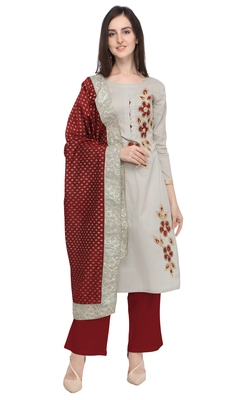 Blissta Women's Light Grey & Maroon Cotton Dress Material Having Gota Patti Lace Work