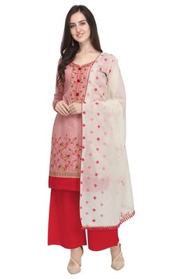 Baby-pink thread embroidery cotton salwar