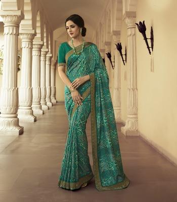 Cyan printed silk saree with blouse