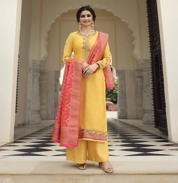 Yellow embroidered satin salwar