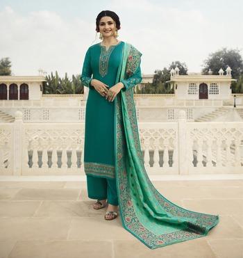 Teal-green embroidered satin salwar