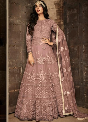 Dark-onion-pink embroidered net salwar