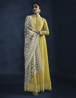 Yellow resham embroidery georgette kameez with dupatta