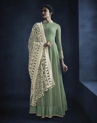 Green resham embroidery georgette kameez with dupatta