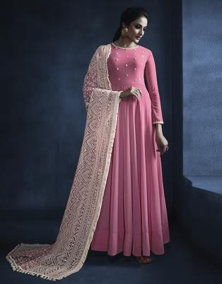 Pink resham embroidery georgette kameez with dupatta