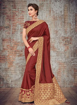 crimson embroidered silk saree with blouse