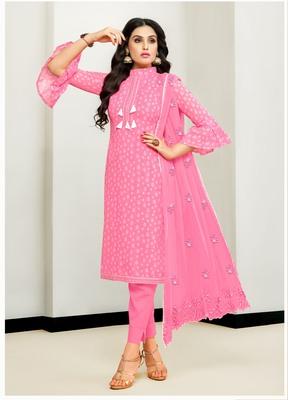 Pink abstract print cotton salwar