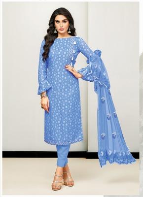 Blue abstract print cotton salwar
