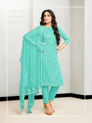 Green abstract print cotton salwar