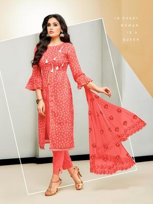 Red abstract print cotton salwar