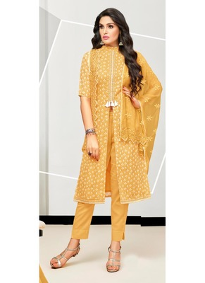 Mustard abstract print cotton salwar