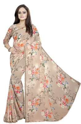 Light brown printed georgette saree with blouse
