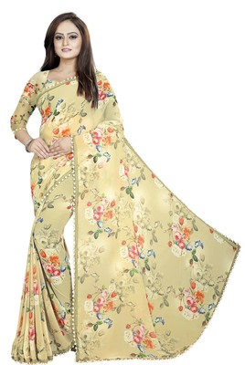 Light Yellow printed georgette saree with blouse
