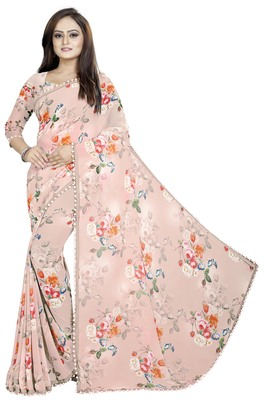 Light pink printed georgette saree with blouse