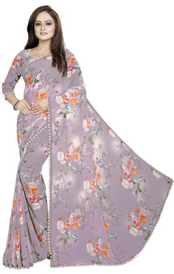 Light purple printed georgette saree with blouse