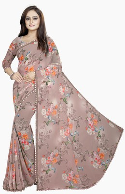 Light coffee printed georgette saree with blouse
