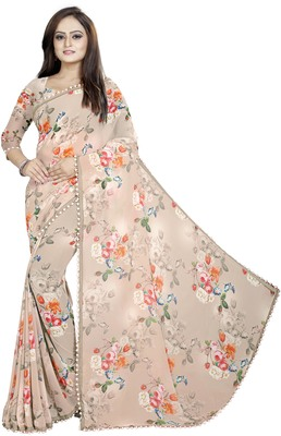 Light cream printed georgette saree with blouse